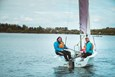 Two people sailing at Willen Lake