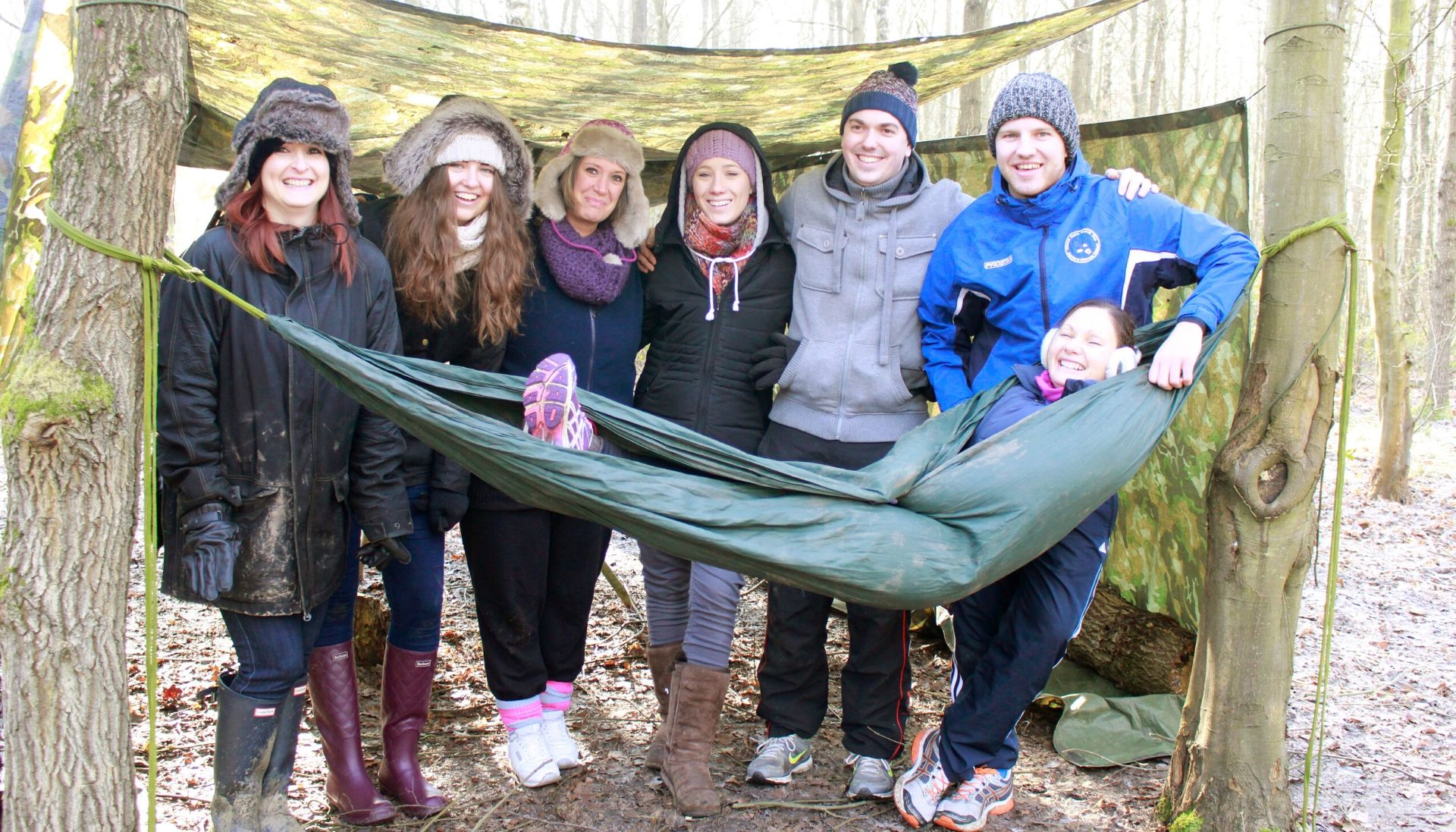 John Lewis Staff corportate team building, using hammocks in the wood