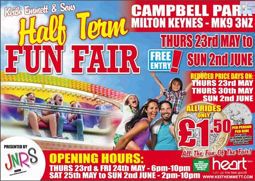 Come along to the funfair at Campbell Park this May half term